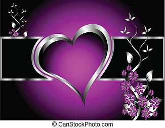 Ein purpurnes Herz vergoldet den Hintergrund