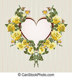 Ein Rahmen aus gelben Rosen