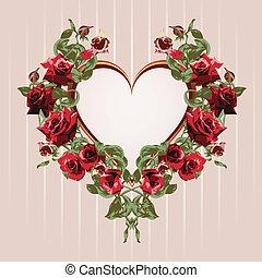 Ein Rahmen aus roten Rosen