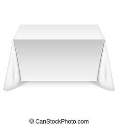 Ein rechteckiger Tisch mit weißer Tischdecke