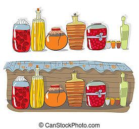 Ein Regal mit hausgemachtem Marmelade und Gewürzen