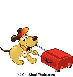 Ein reisender Hund mit Gepäck
