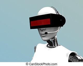 Ein Roboter mit futuristischen Kopfhörern.