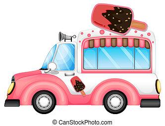 Ein rosa Auto, das Eis verkauft.