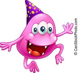 Ein rosa Beanie-Monster, das feiert
