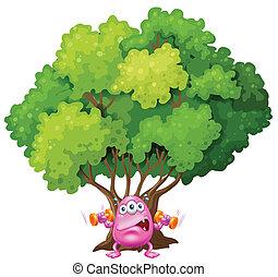 Ein rosa Monster, das unter dem Baum trainiert.