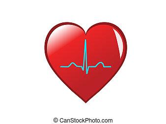 Ein rotes Herz mit gesundem Sinusrhythmus darauf, das ein gesundes Herz darstellt. Auf weiß isoliert