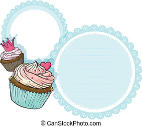 Ein rundes Briefpapier mit zwei Cupcakes
