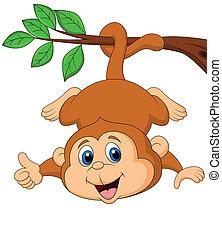 Ein süßer Affe, der an einem Baumbaum hängt.