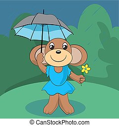 Ein süßer Affe steht auf grüner Wiese mit einer Blume und einem Regenschirm. Vector