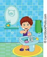 Ein süßer, lächelnder Junge in Unterwäsche, der Zähne putzt.