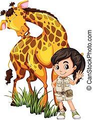 Ein Safari-Mädchen mit Giraffe.