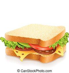 Ein Sandwich mit Käse und Gemüse