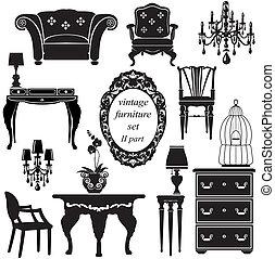 Ein Satz antiker Möbel - isolierte schwarze Silhouetten.