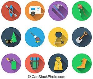 Ein Satz Camping-Icons.