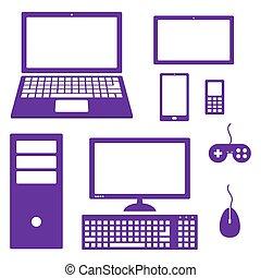 Ein Satz elektronischer Geräte-Icons