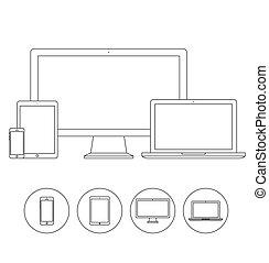 Ein Satz elektronischer Geräte-Kontur Icons