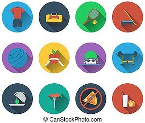 Ein Satz Fitness-Icons.