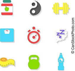 Ein Satz flacher Fitness-Icons. Vector Illustration