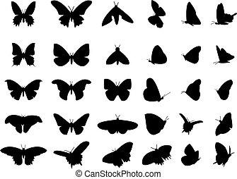 Ein Satz fliegender Schmetterlingssilhouette, isoliertes Vektorobjekt.