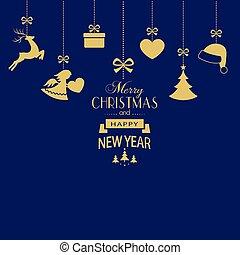 Ein Satz goldener Weihnachtsschmuck auf dunklem, blauen Hintergrund.