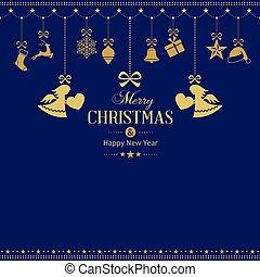 Ein Satz goldener Weihnachtsschmuck mit Engeln.
