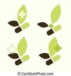 Ein Satz grünes Logo für die Pharmafirma