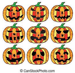 Ein Satz Halloween-Kürbisse.