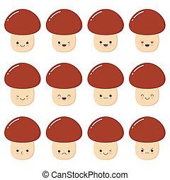 Ein Satz lustiger porcini Pilzcharakter mit menschlichem Gesicht zeigt verschiedene Emotionen, Zeichentrick-Vektor Illustration isoliert auf weißem Hintergrund.