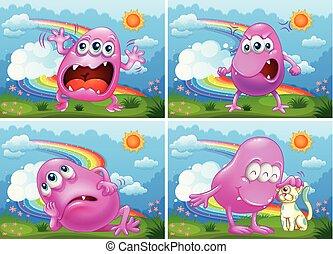 Ein Satz rosa Monster.
