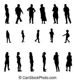 Ein Satz schwarzer und weißer Silhouette, die Menschen und Kinder führt. Vector Illustration