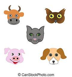 Ein Satz tierischer Emoticons.
