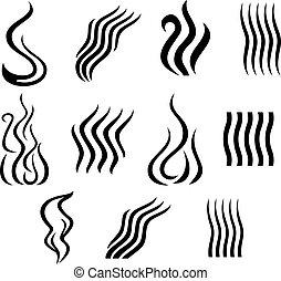 Ein Satz verschiedener Rauchzeichen.