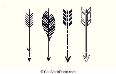 Ein Satz von 4 schwarzen Pfeilen. Einfache Hipster-Symbole. Vektorelemente für Visitenkarten, Buch oder Postkarte