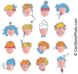 Ein Satz von Personen Icons von verschiedenen Berufen und Alter.