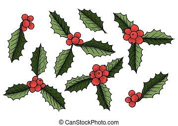 Ein Satz von Weihnachten mistletoe