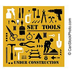 Ein Satz Werkzeuge Silhouetten.