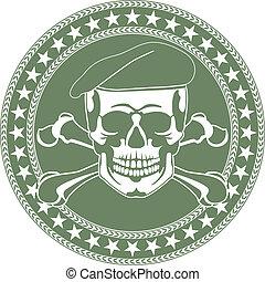 Ein Schädel-Emblem in einer Baske