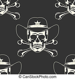 Ein Schädel in einem Cowboyhut-Rad