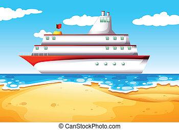 Ein Schiff am Strand.