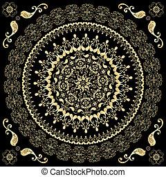 Ein schmückendes goldenes rundes Bild