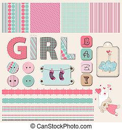 Ein Schulbuch-Baby-Mädchen-Set