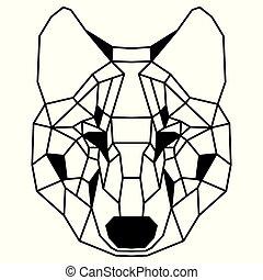 Ein schwaches polygonales Portrait eines Wolfs