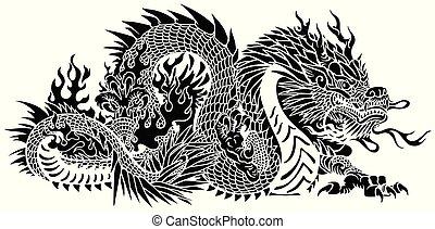 Ein schwarzer chinesischer Drache