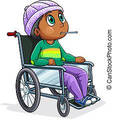 Ein Schwarzer, der im Rollstuhl sitzt.
