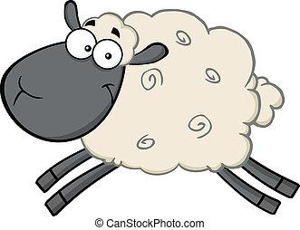 Ein schwarzer Schaf-Cartoon-Typ.