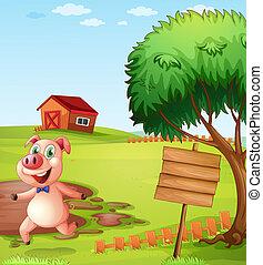 Ein Schwein auf der Farm in der Nähe des leeren Schilds