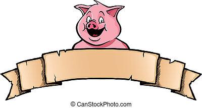 Ein Schwein mit einem Banner