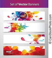 Ein Set abstrakter farbenfroher Web Headers.