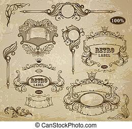 Ein Set alter Elemente: Schleifen und Emblem